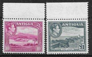 ANTIGUA SG108/9 1948 10/= & £1 HIGH VALUES MNH
