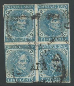 CSA Scott #7 Used Block of 4 Confederate Stamps Guineys, VA April Date