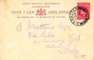 Gibraltar 1d KEVII Postal Card 1910 Gibraltar, 25 to London, England.