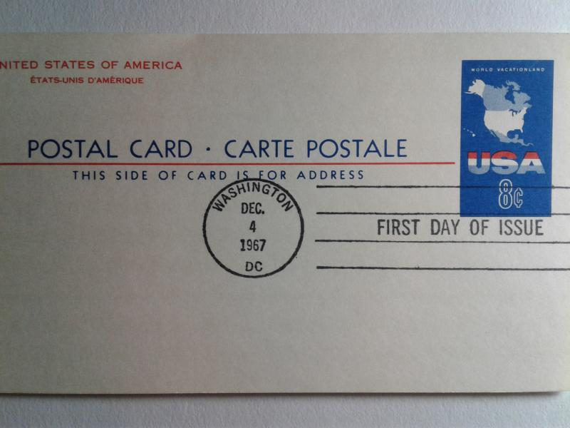 SCOTT # UX 54 EIGHT CENTS POST CARD AIR MAIL FIRST DAY OF ISSUE  1967