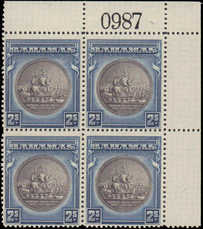 1931-1946 Bahamas #90, Complete Set, Plate Block of 4, Never Hinged