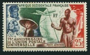 French West Africa C15,MNH.Michel 59. UPU-75,1947.Colonials,Globe,Plane.
