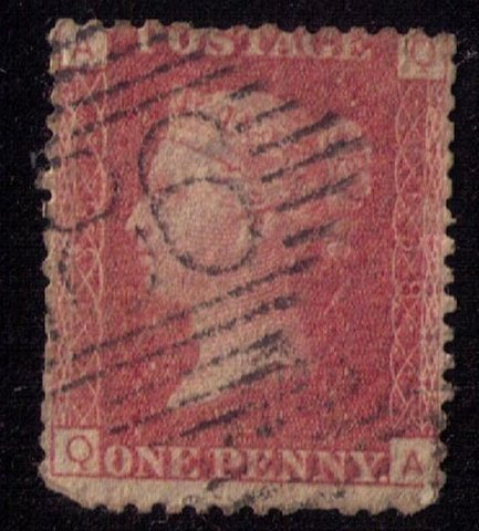 GREAT BRITAIN Scott #33 (plate 138) 1p Red F-VF