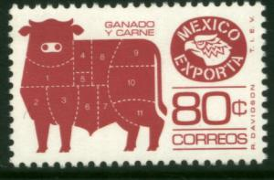 MEXICO Exporta 1113a 80c Cattle Meat Unwmk Fosfo Paper 4 MINT, NH. VF.