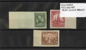 Columbia Stamps # 437 467 And 469 Trial Color Proofs