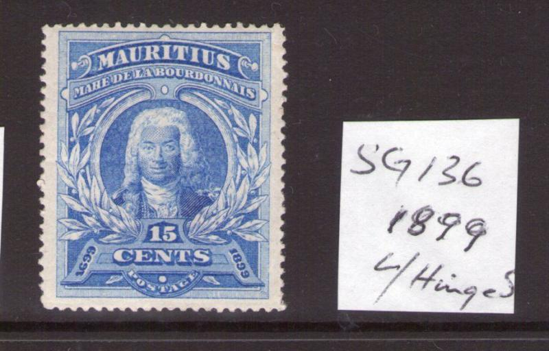 Mauritius  Victoria 15cts 1899 SG136, single, ultramarine lightly hinged.