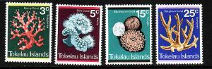 Tokelau-Sc#37-40-unused NH Marine Life set-1973-Corals-
