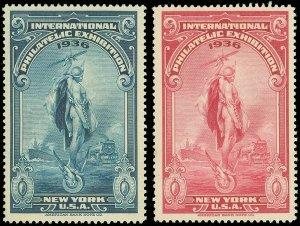 1936 POSTER STAMPS, (2) NEW YORK INTERNATIONAL PHILATELIC EXHIBITION! OG-Hinged