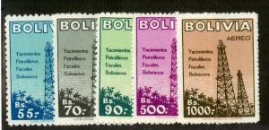 BOLIVIA C182-186 MNH SCV $11.20 BIN $5.60 OIL WELLS