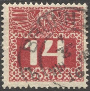 AUSTRIA 1910  Sc J39 14h Postage Due Used  VF,  BRUNN (Moravia)  cancel
