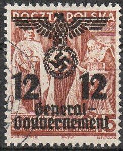 Stamp Germany Poland General Gov't Mi 033 1940 WWII Reich War Emblem Used