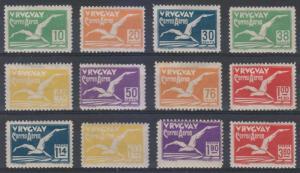 URUGUAY 1928 ALBATROSS Sc C14-C25 Yvert PA14-25 FULL SET HINGED MINT SCV$520.00