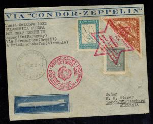 1932 Paraguay Graf Zeppelin Cover to H Sieger Lorch Germany LZ 127 Star of David