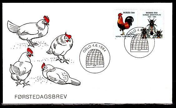 / Norway, Scott cat. 845-846. Rooster & Honey Bees issue. First day cover.