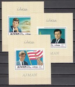 Ajman, Mi cat. 445-447, BL122-124 A. The Kennedy Brothers as s/sheets. C.T.O.