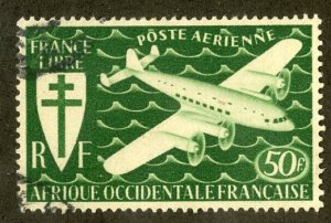 FRENCH WEST AFRICA C2 USED BIN $1.00 AIRPLANE