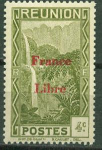 France-Reunion # 184  4c Waterfall France Libre (1) Unused VLH