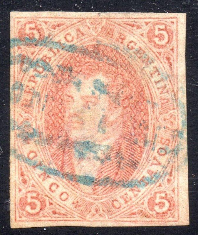Argentina, 1867 Rivadavia, 6th. print, unperforated GJ cat # 27 fine used
