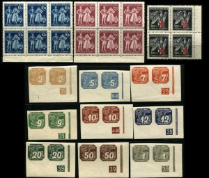 CZECHOSLOVAKIA BOHEMIA MORAVIA Pairs Blocks Postage Stamps Collection MINT NH