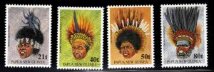 Papua New Guinea Scott 778-781  MNH** Headdresses set 1991