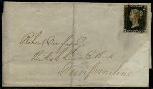 GB #1 VF TIED BY RED MALTESE CROSS ON FOLDED LETTER CV $600.00 BQ2058