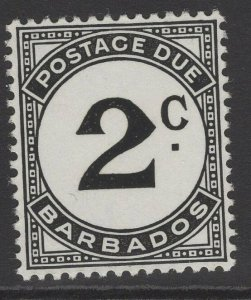 BARBADOS SGD5a 1953 2c BLACK CHALKY PAPER POSTAGE DUE MNH