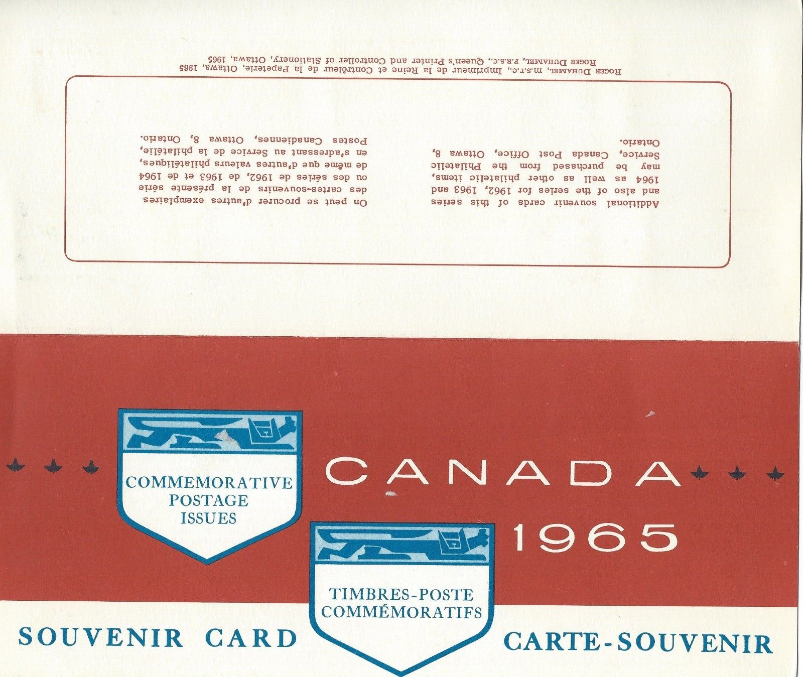 Canada Souvenir Card 7 Commemorative Postage Issues 1965 Hipstamp