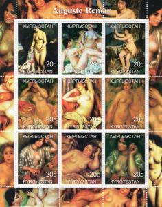 Kyrgyzstan 2000 AUGUSTE RENOIR Nudes Paintings Sheetlet (9) MNH VF