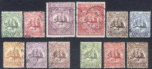 Turks & Caicos 1904 1/2d-£1 Badge SG 101-112 Scott 1-12 VFU Cat £206($267)
