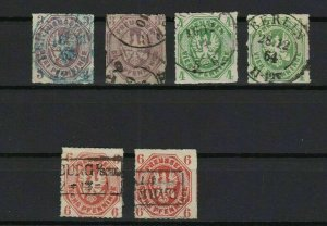 prussia 1861 shades used stamps cat £650+ ref r13383