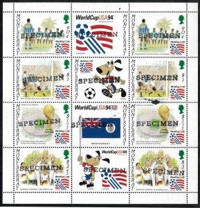 Montserrat Sc#845a-d WORLD CUP SOCCER USA 94 SPECIMEN S/S (1994) MNH
