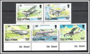 Isle Of Man #262-266 Aviation Complete Set MNH