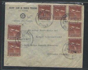 CHILE  (P3108B)  1955    A/M  COVER   ROTARY  10PX7+2PX2  PUERTO PORVENIR TO USA