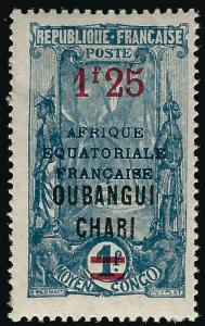 Ubangi Shari Sc #76 F-VF Mint OG hr... French Colonies are Hot!