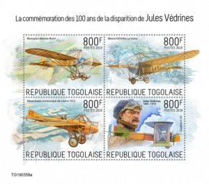 TOGO - 2019 - Jules Vedrines - Perf 4v Sheet - MNH