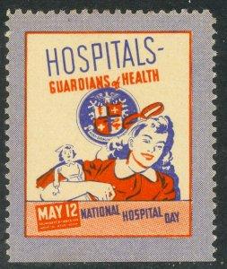 USA c1950 National Hospital Day Label GIRL with NURSE DOLL MNH