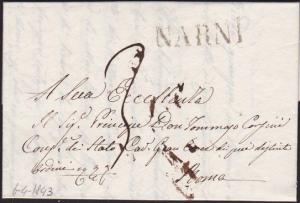 ITALY 1843 folded letter straight line NARNI to Rome........................4774