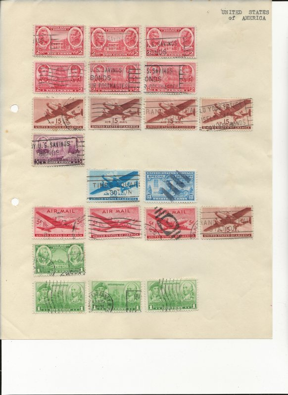 U.S Stamps on 5 Album Pages