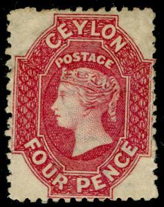 CEYLON SG65, 4d rose, M MINT. Cat £275.