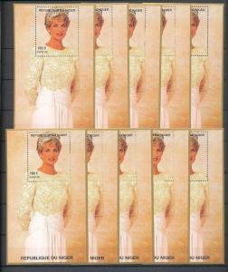 LADY DIANA NIGER 1997 White Dress Tiara MNH Minisheets 10x [D167]