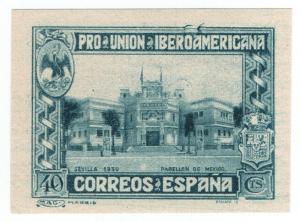 (I.B) Spain Postal : Ibero-American Exhibition 40c (proof)