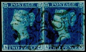 SG14, 2d blue PLATE 3, FU. Cat £1100+. BLACK MX WITH 12 PAIR. FULL MARGINS.AJ AK