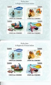 Comoro Islands 2011 fish sheetlets perf and imperf MNH ..