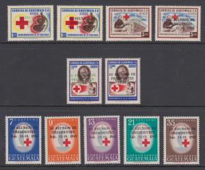 Guatemala Sc C390-C400 MNH. 1967 Presidents' Meeting overprints, cplt set, VF