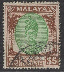MALAYA KEDAH SG90 1950 $5 GREEN & BROWN FINE USED