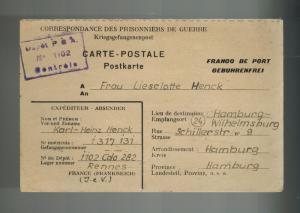 1946 Rennes France POW Prisoner of War Camp 1102 Postcard Cover to Germany Henck