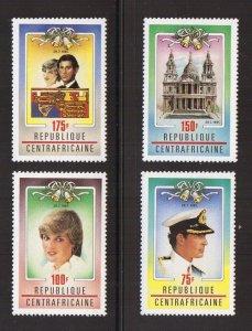 Central African Republic  #457-460  MNH 1981  Royal wedding Diana