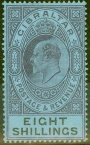 Gibraltar 1903 8s Dull Purple & Black-Blue SG54 Fine & Fresh Lightly Mtd Mint (7
