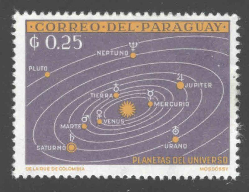 Paraguay Scott 728 space solar system map stamp