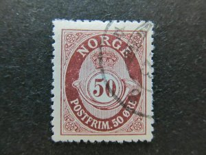 A5P18F31 Norway 1910-29 Redrawn 50o Perf 14 1/2x13 1/2 used